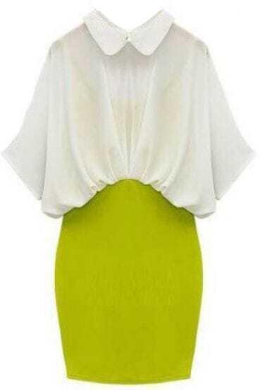 Vestido entallado de gasa-Blanco&Verde