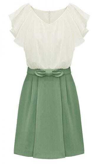 Green Short Sleeve Zipper Bow Chiffon Dress