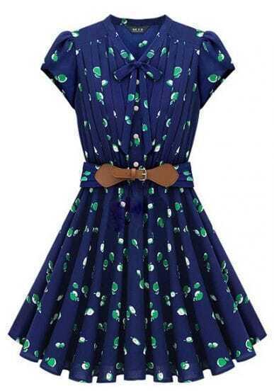 Blue Short Sleeve Apple Print Bandeau Pleated Dress