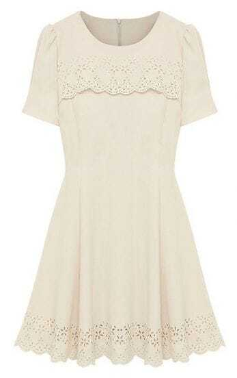 Ivory Short Sleeve Hollow Black Zipper Ruffles Dress