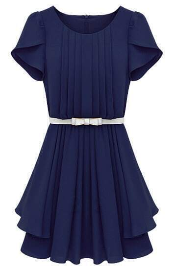 Blue Ruffles Short Sleeve Pleated Chiffon Dress