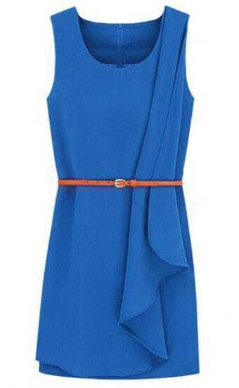 royal blue sleeveless ruffle side belt dress shein sheinside