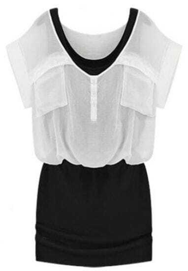 White Short Sleeve Pockets Pleated Bodycon Chiffon Dress