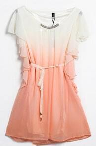 Pink Sleeveless Ruffles Drawstring Bead Dress