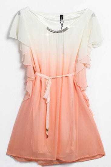 Pink Sleeveless Ruffles Drawstring Bead Dress