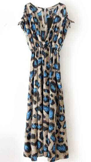 Blue Leopard V Neck Sleeveless Pleated Dress