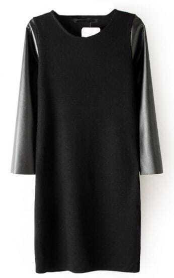 Black Contrast PU Leather Sleeve Dress