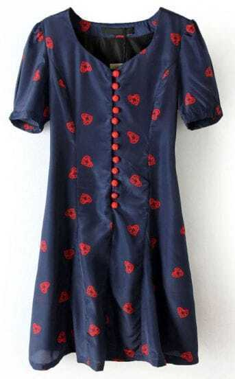 Navy Short Sleeve Heart Print Buttons Dress