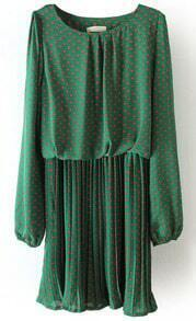 Green Long Sleeve Polka Dot Pleated Chiffon Dress