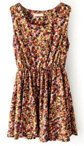 Pink Sleeveless Elastic Waist Floral Tank Dress