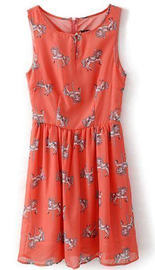 Red Sleeveless Horse Print Zipper Chiffon Dress