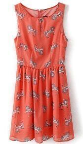 Red Sleeveless Horse Print Zipper Chiffon Dress