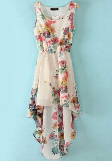 White Sleeveless Bandeau Floral High Low Dress
