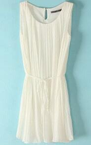 White Sleeveless Pleated Self-tie Shift Dress