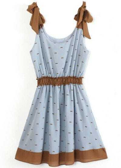 Blue Spaghetti Strap Bandeau Bow Print Dress