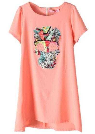 Pink Short Sleeve Back Zipper Skull Rivet T-Shirt