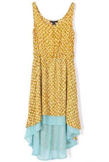 Yellow Sleeveless Polka Dot High Low Chiffon Dress