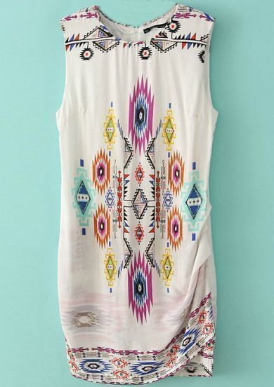 White Sleeveless Geometric Print Pleated Dress