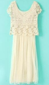 Beige Short Sleeve Crochet Lace Top with Long Dress