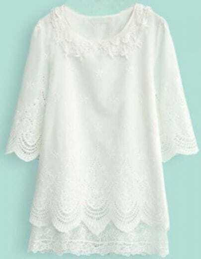 White Half Sleeve Lace Embroidery Hollow Dress