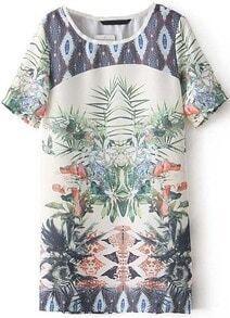 Beige Short Sleeve Floral Chiffon Straight Dress