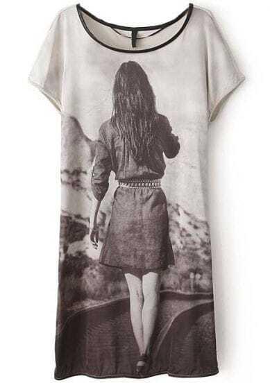 Grey Short Sleeve Girl's Back Print Loose Dress