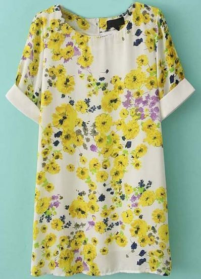 Yellow Short Sleeve Back Zipper Floral Dress