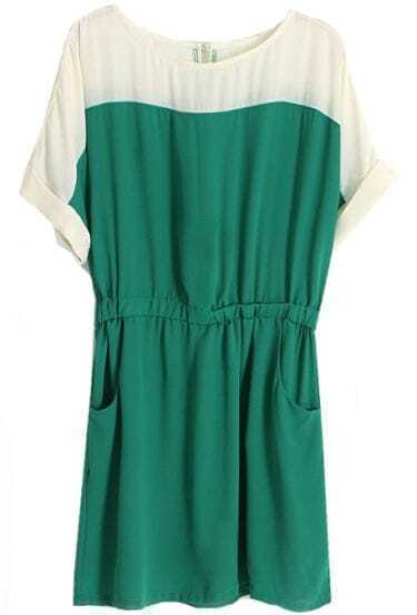 Green Short Sleeve Pockets Bandeau Chiffon Dress