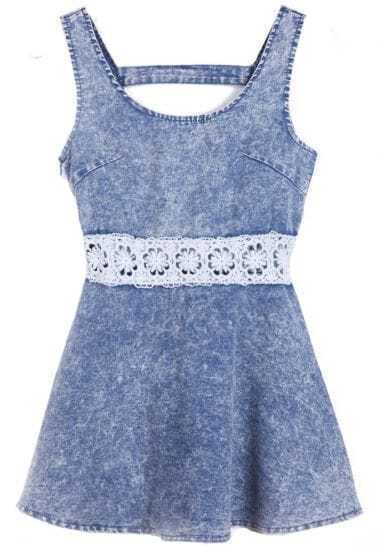 Blue Spaghetti Strap Embroidery Denim Dress