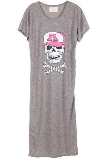 Grey Short Sleeve Hat Skull Print Dress