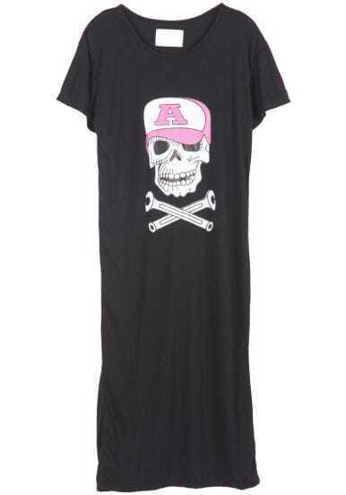 Black Short Sleeve Hat Skull Print Dress