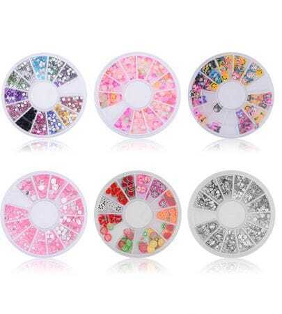 DIY Colorful 6 Style Stickers & Rhinestones Nail Art Decoration Set