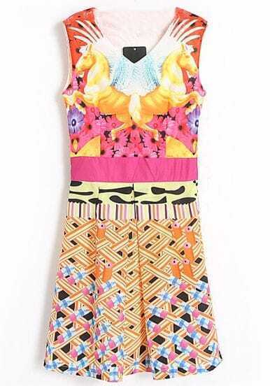 Multicolor V-neck Sleeveless Digtal Print Short Dress