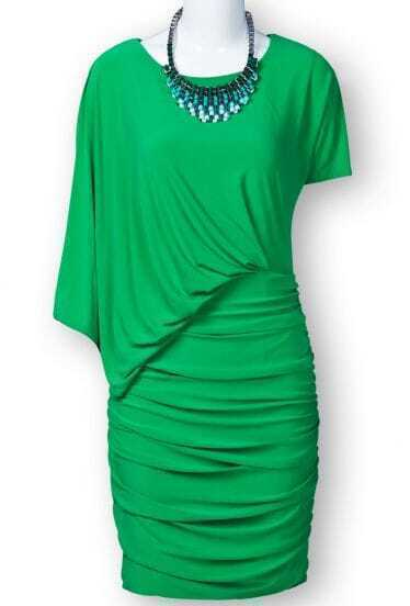 Green Asymmetric Sleeve Ruched Side Bodycon Dress