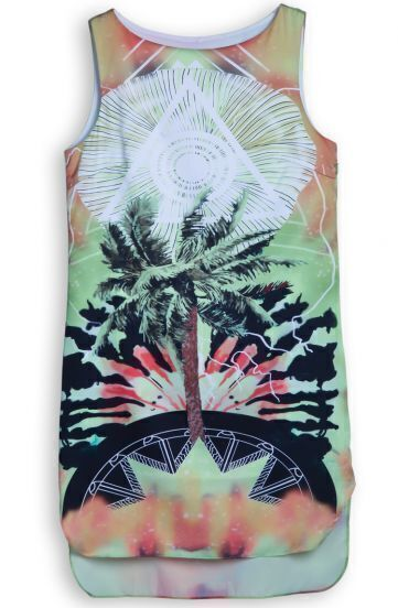 Green Dip Dye Sleeveless Palm Trees Shift Mini Dress