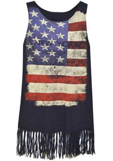 Navy American Flag Print Distressed Tassel Tank Dress