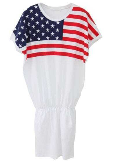 White Short Sleeve American Flag Print Bodycon Dress