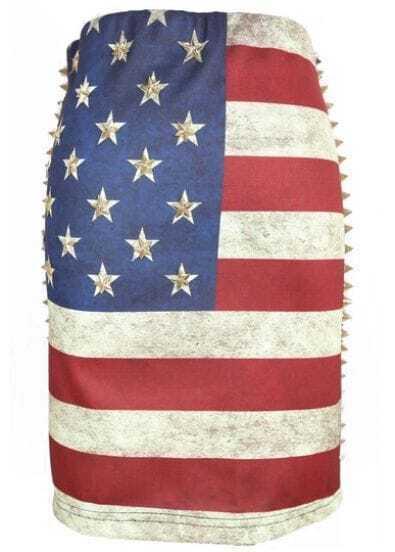 American Flag Distressed Rivet Side Bodycon Skirt