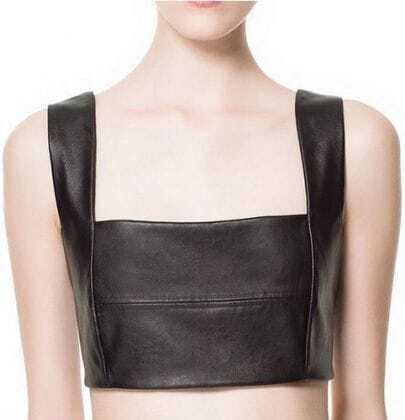 Black Strappy PU Leather Contrast Panel Bra Top