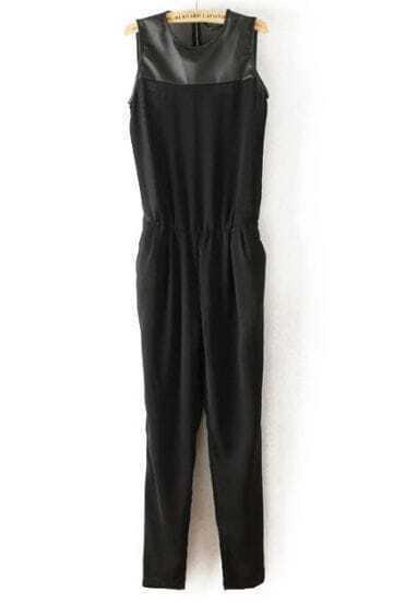 Black Sleeveless Contrast PU Leather Shoulder Jumpsuit