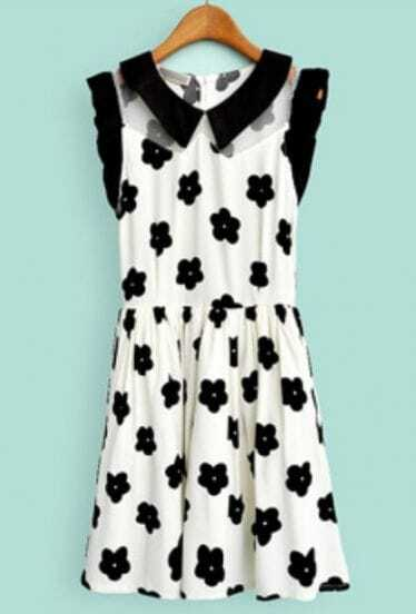 Beige Contrast Collar Frill Sleeve Flowers Dress