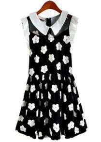 Black Contrast Collar Frill Sleeve Flowers Dress