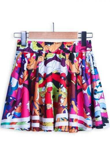 Multicolor Cartoon Donald Duck Flare Skirt