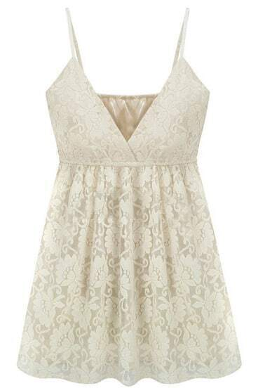 White V-neck Spaghetti Strap Lace Cami Top