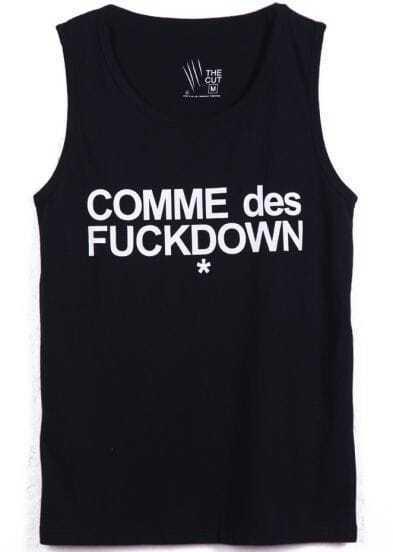 Black Sleeveless Letters Print Vest