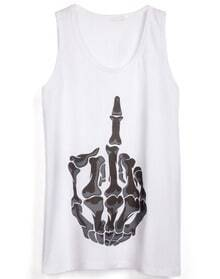 White Sleeveless Skeleton Finger Print Vest