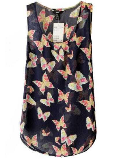 Navy Sleeveless Butterfly Print Chiffon Vest