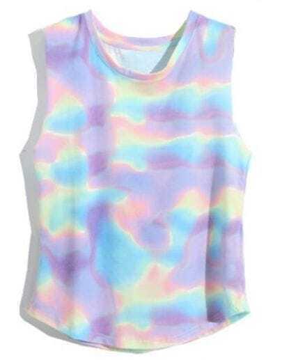Purple Sleeveless Abstract Galaxy Print Vest