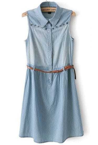 Light Blue Studded Sleeveless Water Wash Denim Dress