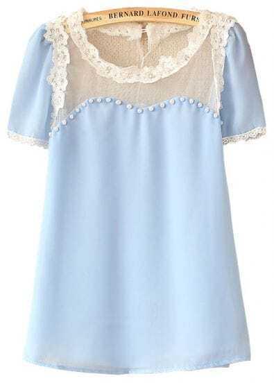 Light Blue Short Sleeve Contrast Lace Hem Chiffon Blouse